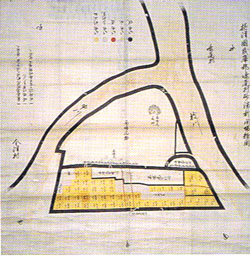 右が枝川、左が申(サル)川。この一体を埋め立て甲子園ができた。資料提供:甲子園素盞嗚神社