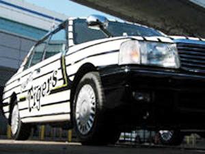 トラファンにはたまらない!タイガース色満載のタクシー。