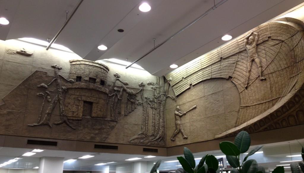 まちなかアート 市役所1Fの窓口の上の壁画