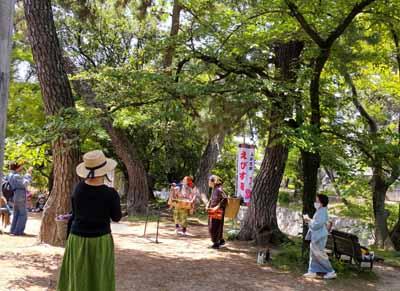 夙川公園を散歩中、偶然出会ったえびす座にびっくり!