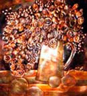 店に飾られた銅板工芸(コパークラフト)はママの作品