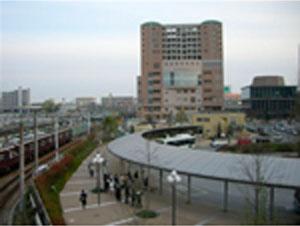 西宮北口駅より南側を望む