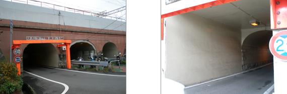 甲子園口駅東側の新堀川橋梁・・・レンガ積みのきれいなアーチ橋(写真左)だが、南側はコンクリートで1線分継ぎ足されている。武庫川線乗り入れのため線増(写真右)