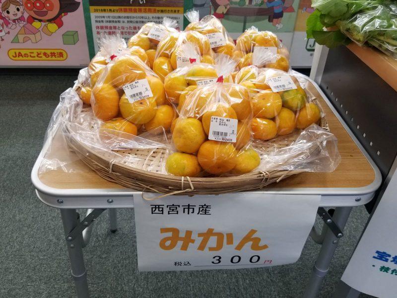 JA兵庫六甲 甲東支店ロビーで野菜直売。西宮みかんも販売中