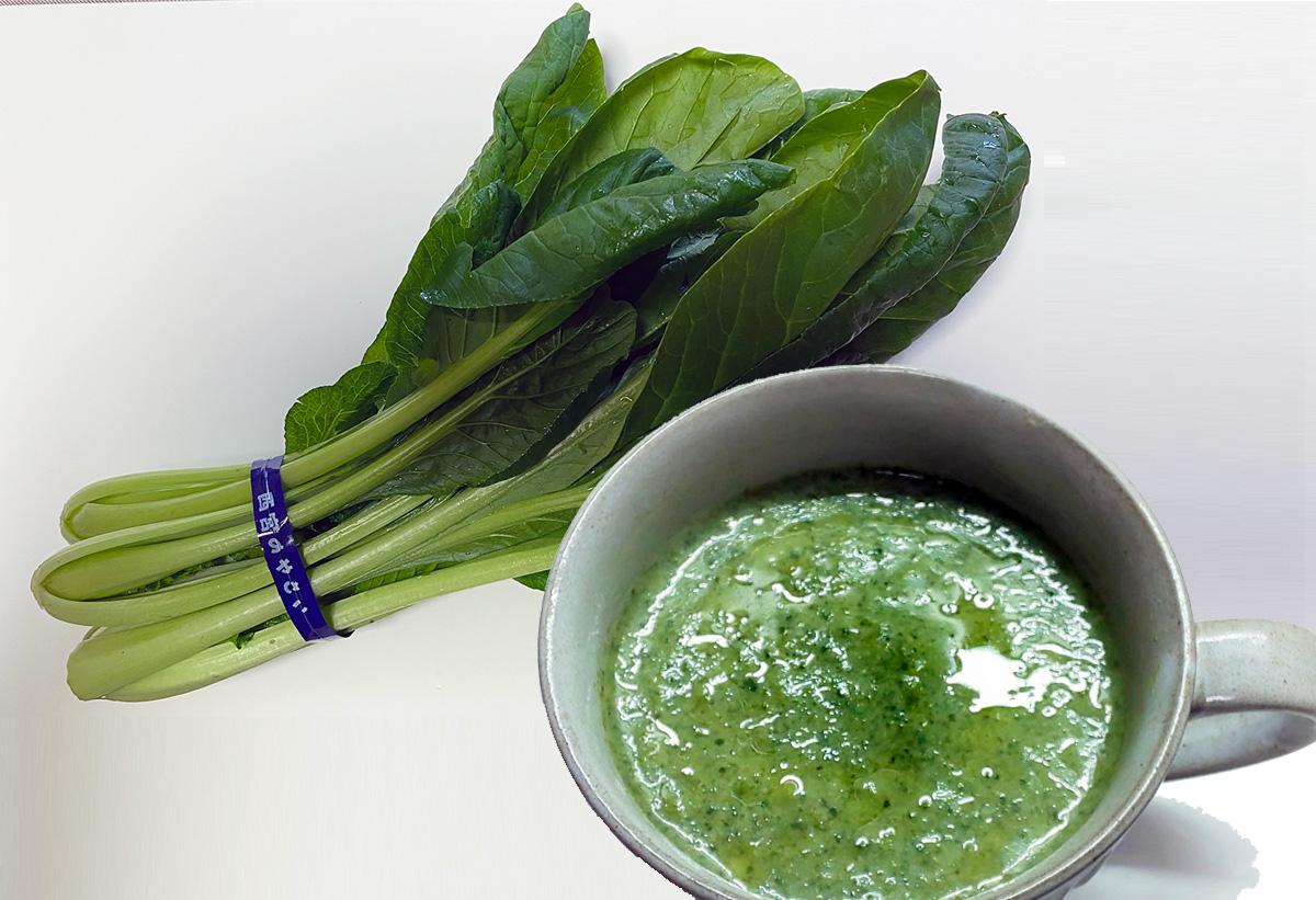 西宮産小松菜とグリーンスープ
